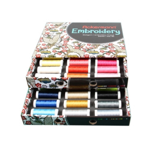 Coffret de fils à broder ACKERMANN EMBROIDERY 36 x 260 M EPAISSEUR 40 MADE IN EUROPE