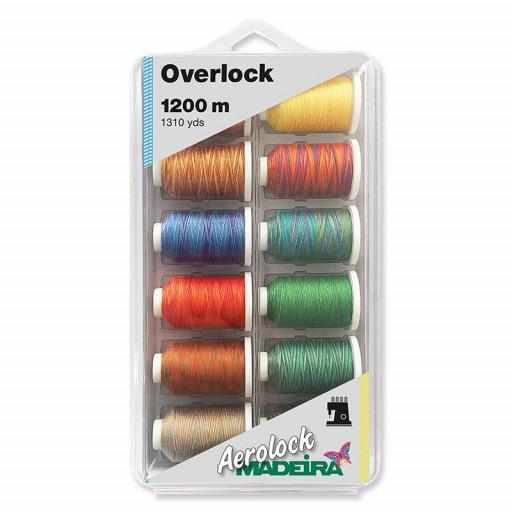 Coffret de 12 bobines miniking de fils aerolock 1200 m multicolores 8097