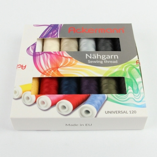 Coffret de 12 bobines de fils à coudre Ackermann - universal - 200m - made in europe