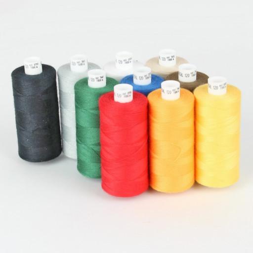 Set de 10 bobines de fils à coudre machine 1000 M assortiment Ackermann 100% polyester épaisseur 120 Made in Europe