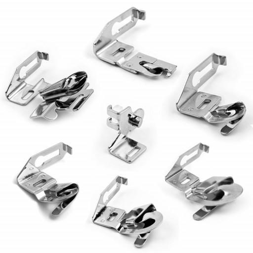 Set de 7 accessoires composé de poseurs de biais, ourleurs, assemblage bord à bord POUR MACHINE À COUDRE DORINA  TEXI - GRITZNER - JUKI - SILVER - JAGUAR - BROTHER - ELNA - HUSQVARNA VIKING - PFAFF - JANOME - BERNETTE
