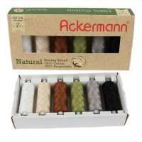 Coffret de fils à coudre/broder Ackermann Natural (100% coton) 6 x 500 m made in europe
