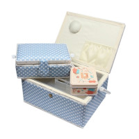 Boite à couture x3 avec nécessaire de couture motifs bleu à pois blancs