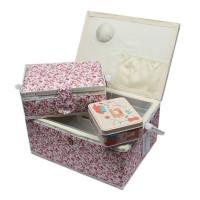 Boite à couture x3 avec nécessaire de couture motifs fleur rose