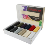 Coffret de 12 bobines de fils à coudre Ackermann - universal - 1000m - made in europe