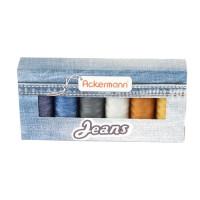 Coffret 6 bobines de fils à coudre Ackermann - fort - special jeans - epaisseur 80 - 150m