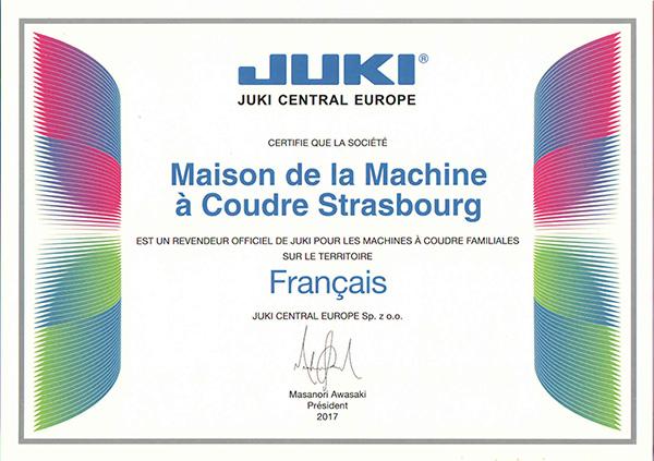 Certificat Juki