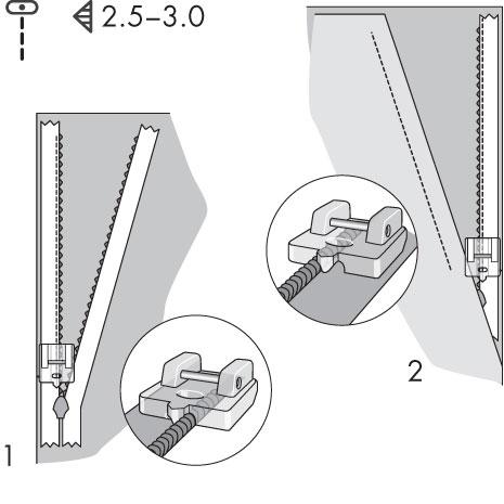 schéma explication pour le pied fermeture à glissière invisible