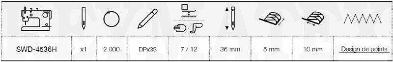 Schéma explication de la machine Sewmaq SWD-4536H